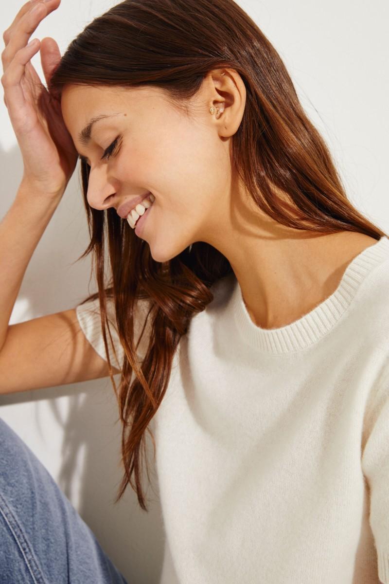 Kurzarm Cashmere-Pullover Crème