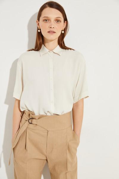 Oversize Seiden-Bluse 'Liana' Beige