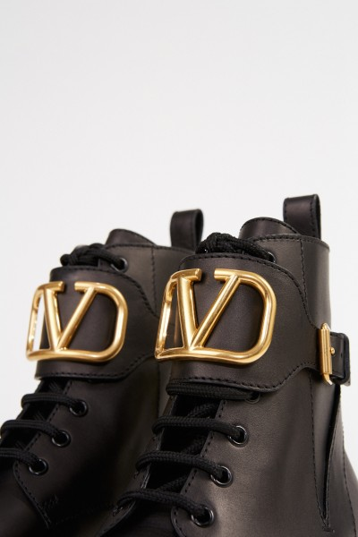 Valentino Combat boots with V logo Black