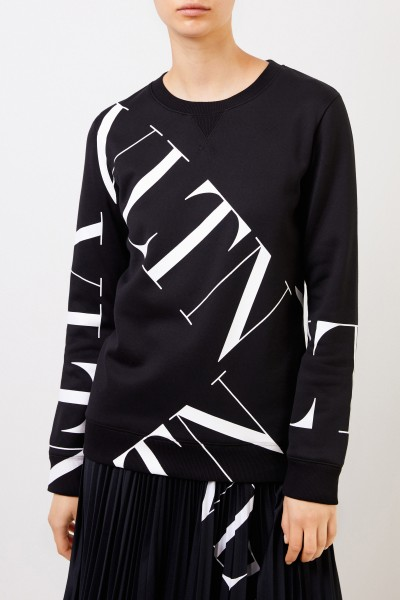 Valentino Sweatshirt with 'VLTN'-Logo Black/White