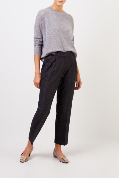 Iris von Arnim Gabardine trousers 'Janna' with elastic waistband Anthracite