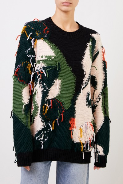 Stella McCartney Patterned wool pullover with fringes Multi