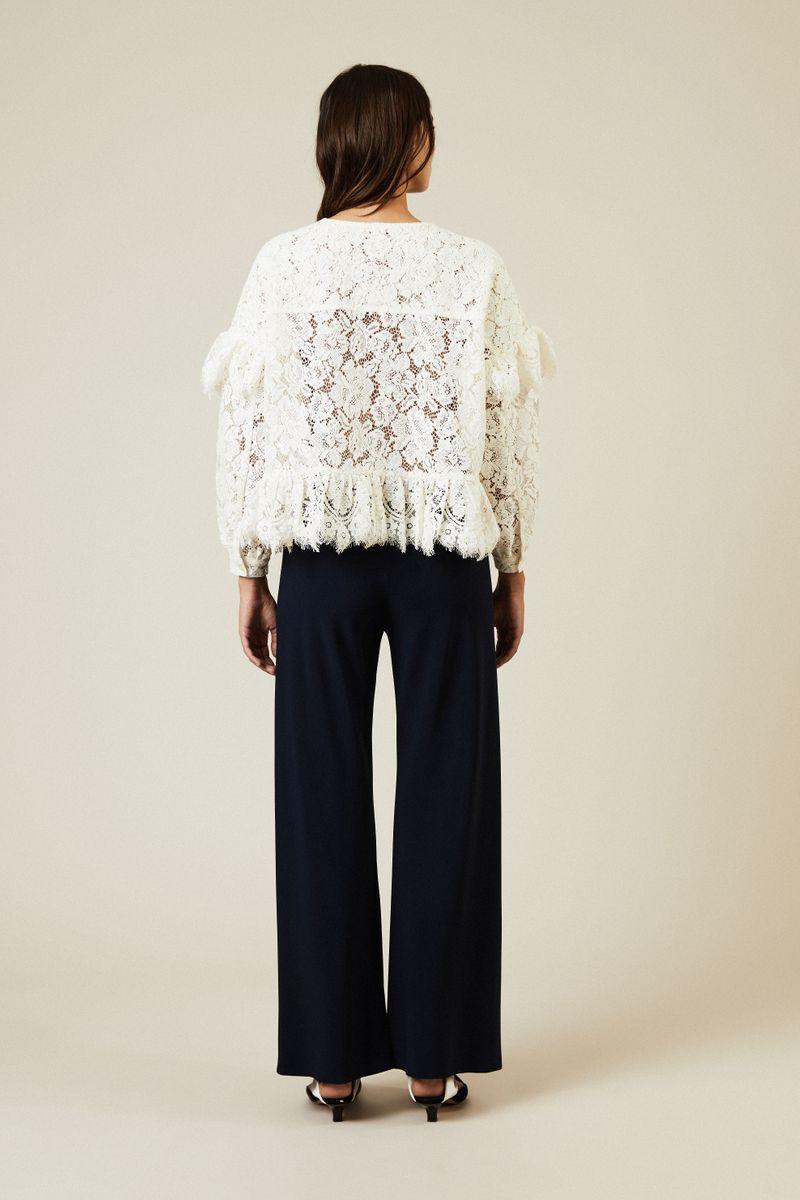 Spitzen-Bluse 'Jerome' mit Volants Weiß