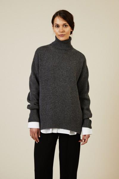 Woll-Cashmere-Rollkragenpullover Anthrazit