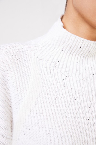 Lorena Antoniazzi Wool sweater with sequins White