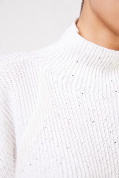 Lorena Antoniazzi Woll-Pullover mit Pailletten Weiß/Crème