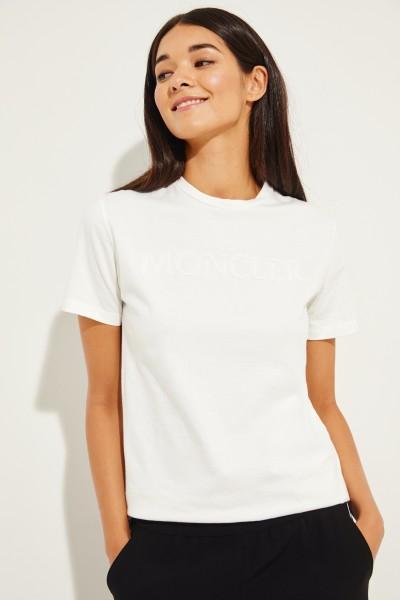 T-Shirt mit frontalen Perlen-Details Weiß