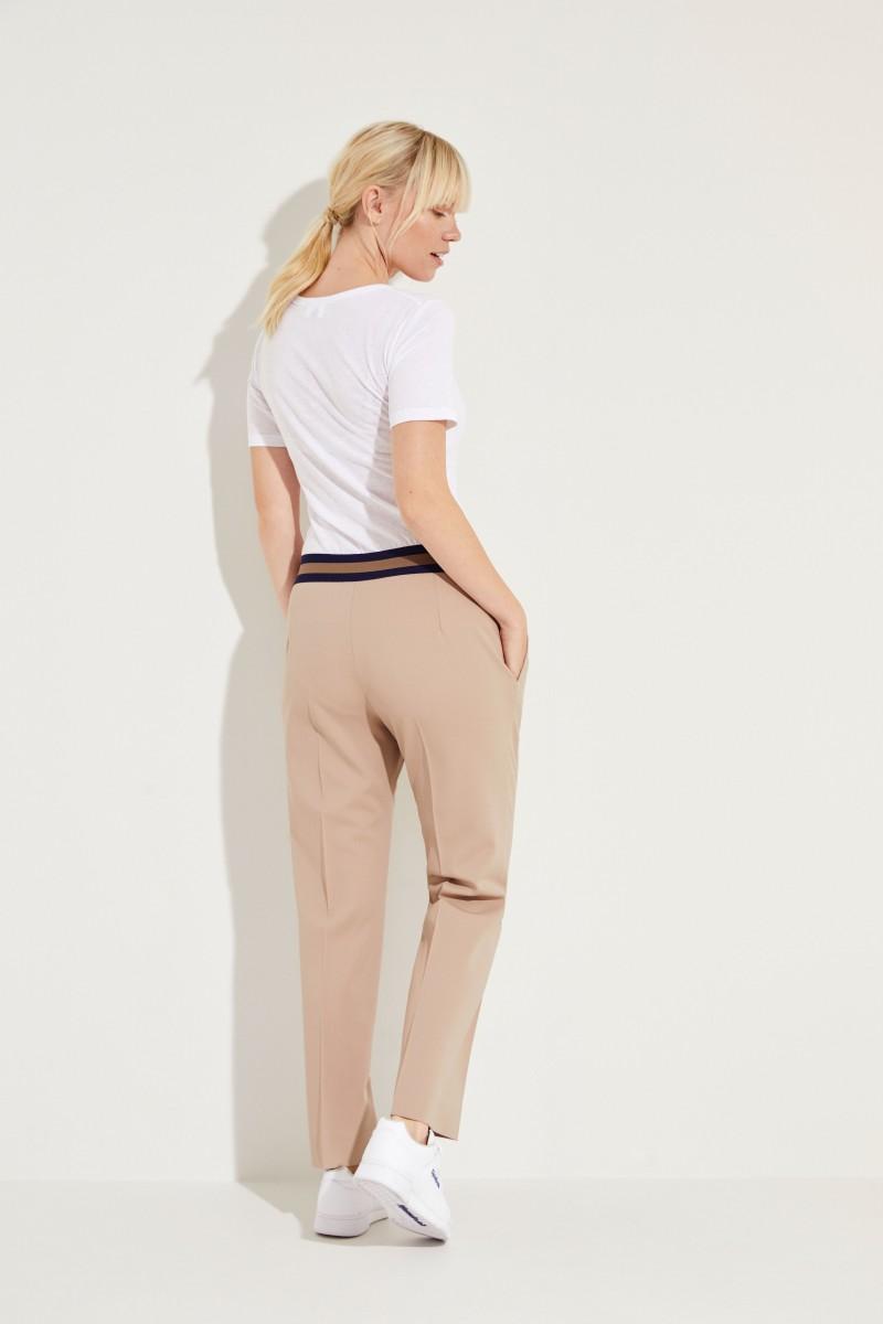 Woll-Hose mit elastischem Bund 'Irina' Beige