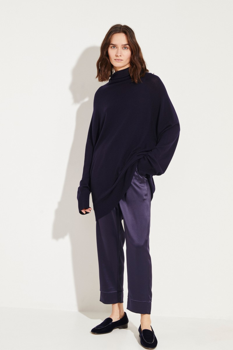 Oversized Wollpullover 'Mandel' Marineblau