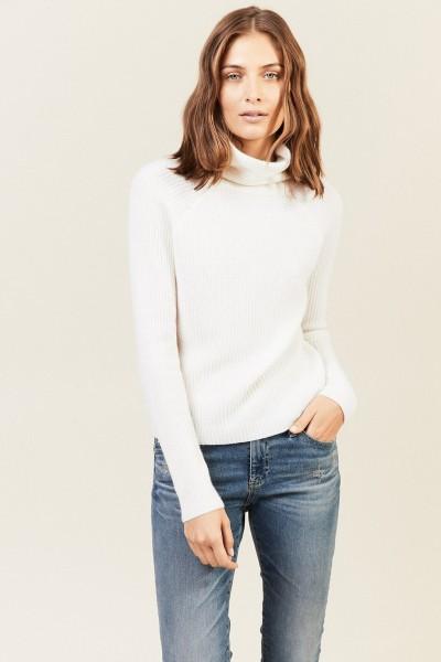 Rippstrick Cashmere-Pullover Weiß
