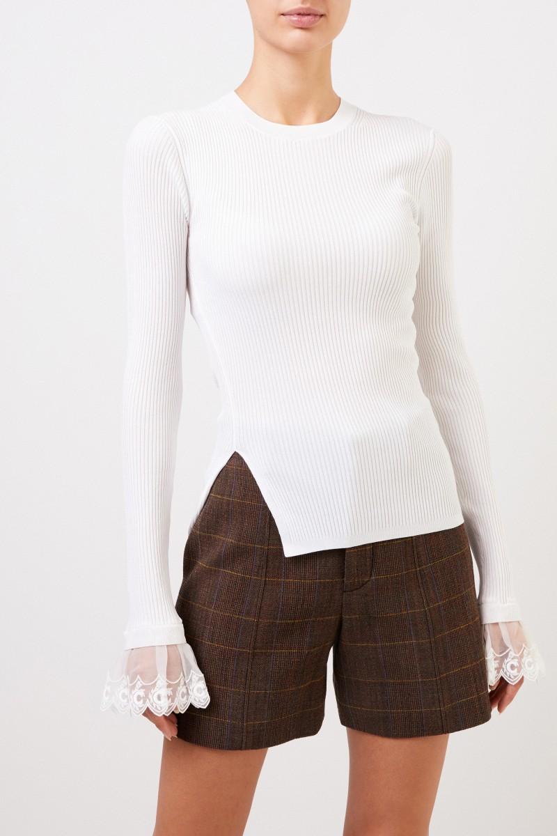 Chloé Rippstrick-Pullover mit Spitzendetails Iconic Milk