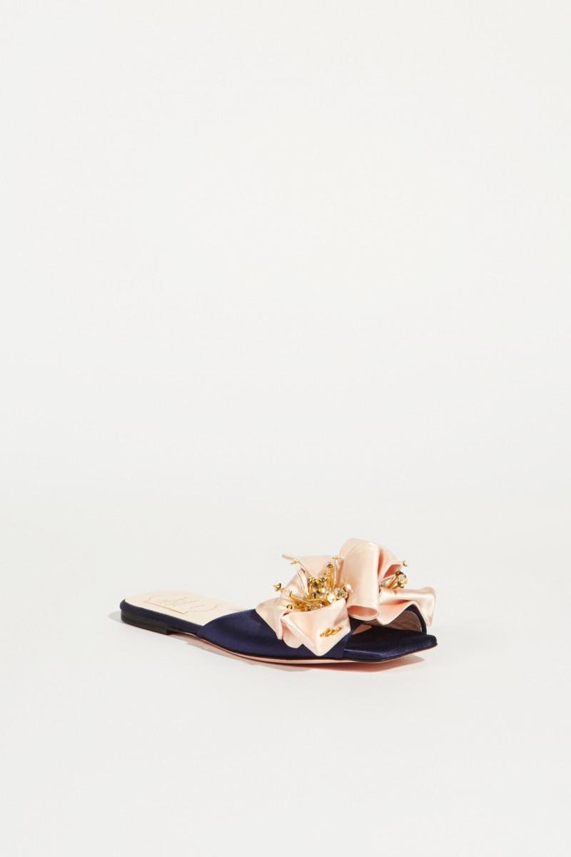 Mules mit Verzierung 'VIV Fireflower' Marineblau/Rosé