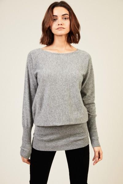 Langer Cashmere-Pullover Grau