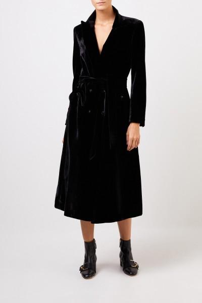 Blazé Milano Velvet coat 'Essential Etoile' with belt Black