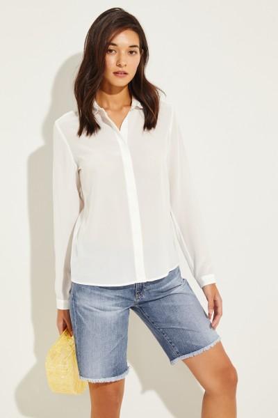 Seiden-Bluse mit abgerundetem Kragen Weiß