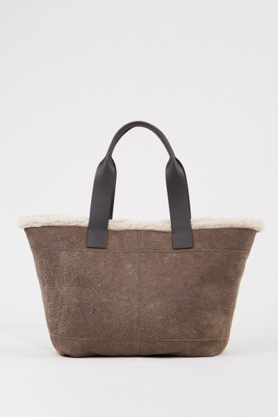 Lamb leather shopper with pearl decoration Taupe
