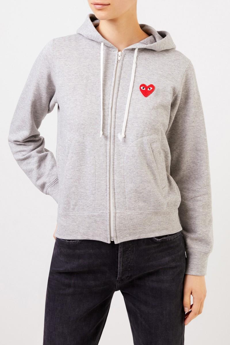 Sweatshirtjacke mit Herz-Emblem Grau