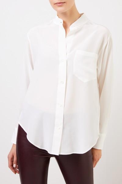 Robert Friedman Silk blouse with breast pocket Cream