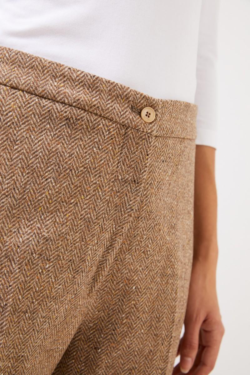 Etro Woll-Hose mit Fischgrätmuster Beige