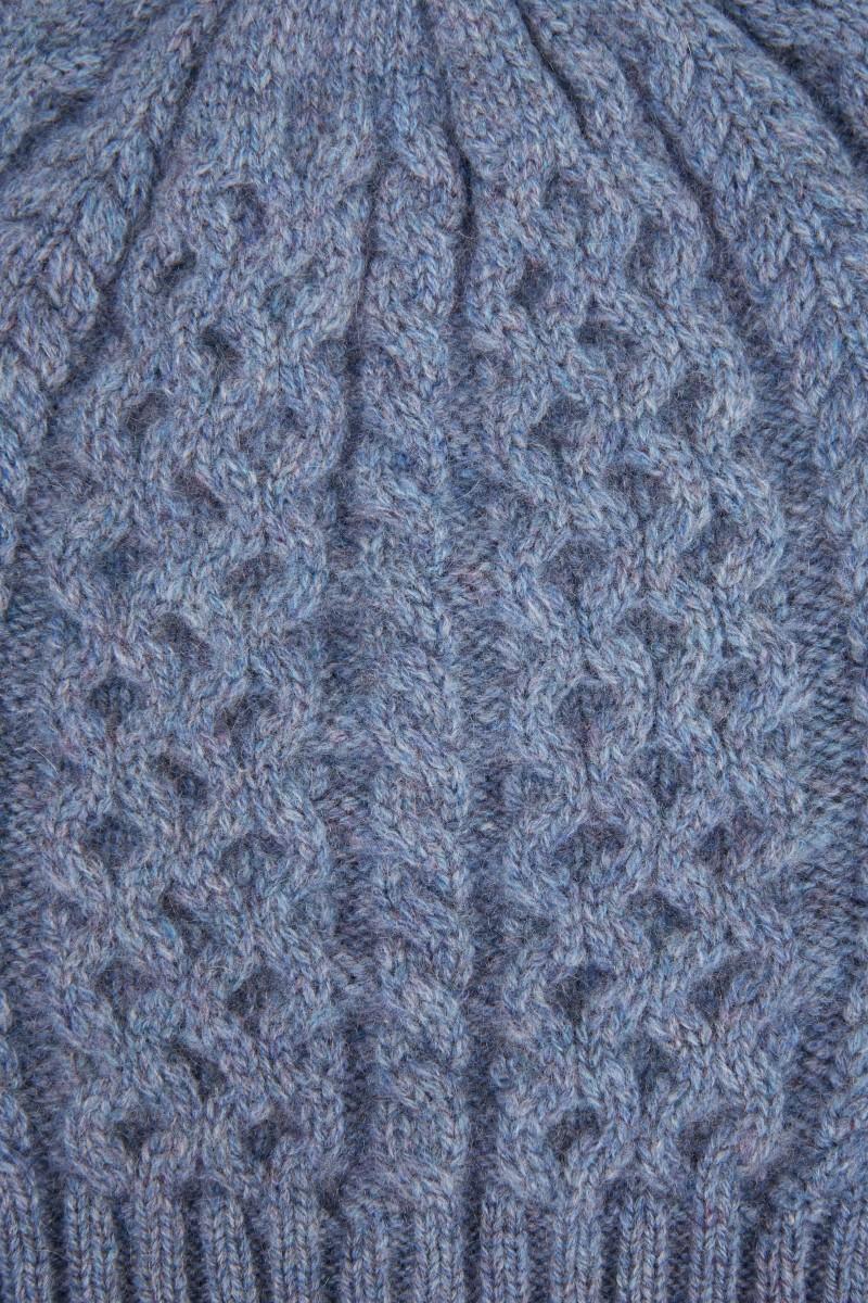 UZWEI Cashmere-Mütze mit Zopfmuster Denimblau