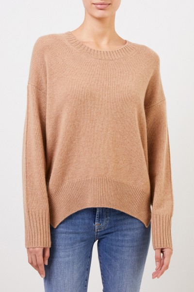 Allude Cashmere-Pullover mit geschlitztem Saum Camel