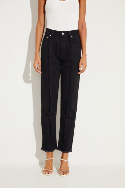 Jeans with frayed seams Black