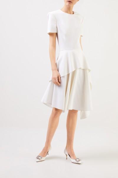 Alexander McQueen Woll-Kleid mit Volants Weiß
