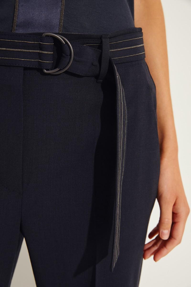Woll-Hose mit Gürtel Marineblau