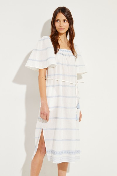 Langes Kleid mit Stickerei Weiß/Blau