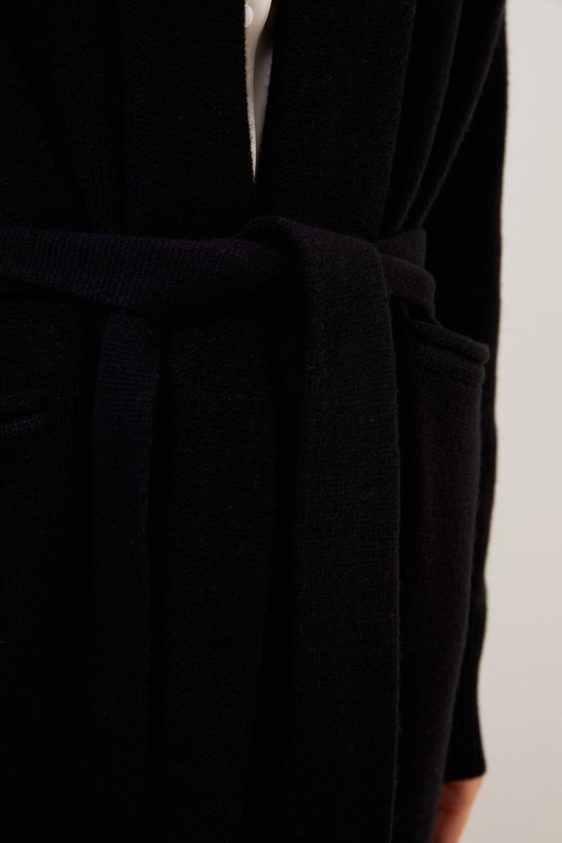 Woll-Cashmere-Strickmantel mit Gürtel Schwarz