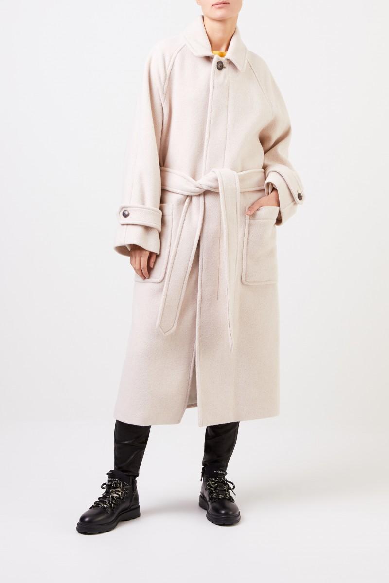 Ami Langer Woll-Mantel mit Gürtel Beige Mélange