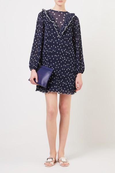 Plissee-Kleid mit Punkten Blau/Weiß