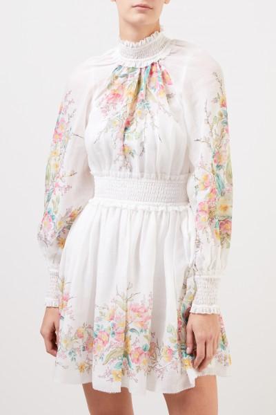 Zimmermann Kurzes Kleid 'Zinnia' mit floralem Print Weiß/Multi