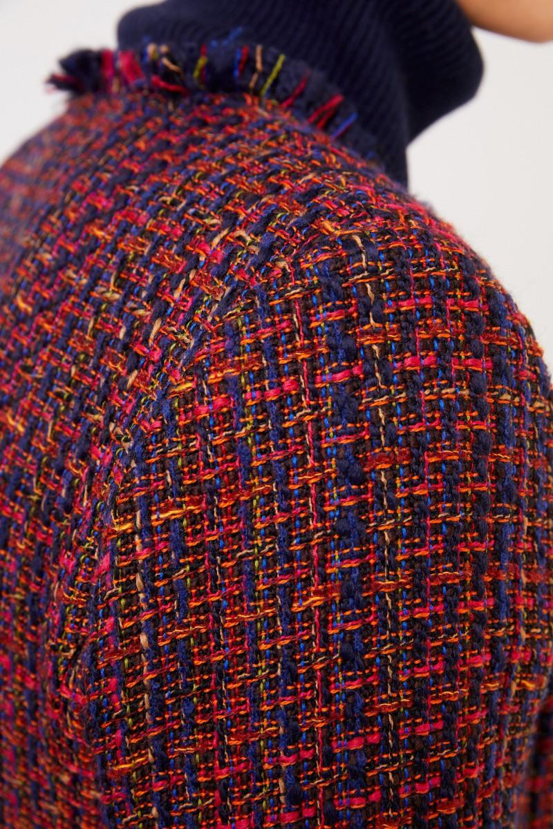 NUSCO 2107 Tweedblazer mit Fransen-Detail Rot/Marineblau