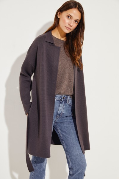Knitted Coat with Belt Detail Brown