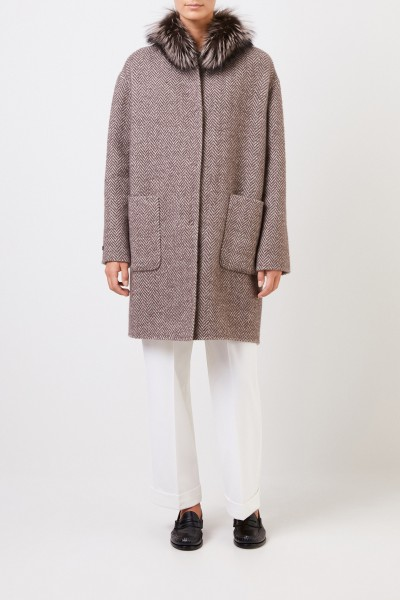 Manzoni 24 Reversible alpaca wool coat with fox fur Taupe/Beige