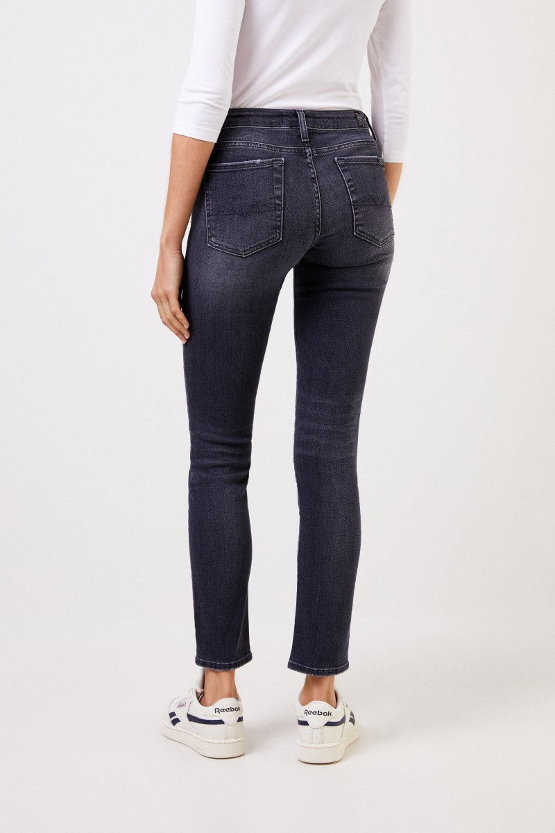 7 for all mankind Skinny-Jeans 'Pyper Cropped' Grau