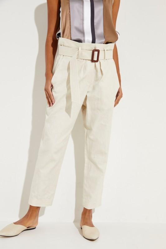 d635d29439 Linen cotton pants with belt Beige | Straight leg | Pants | Clothing |  unger-fashion.com