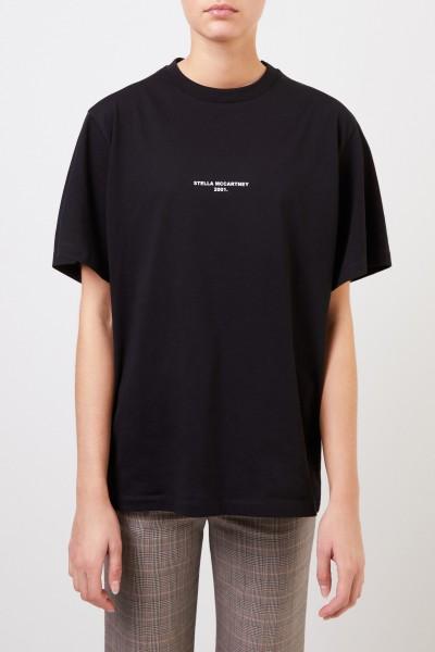 Stella McCartney T-Shirt mit Logo-Aufdruck Schwarz