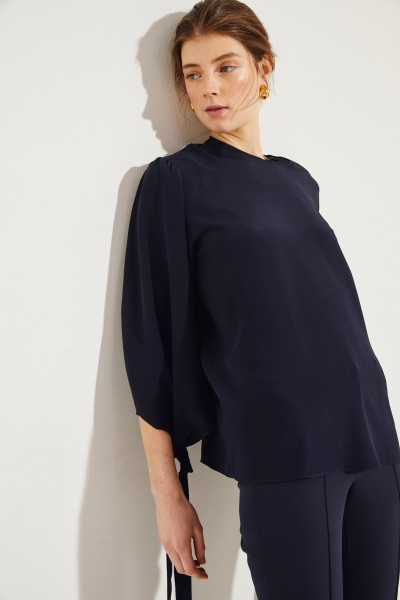 Silk blouse with binding details Blue