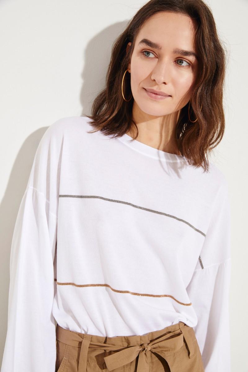 Baumwoll-Pullover mit Perlenverzierung Weiß
