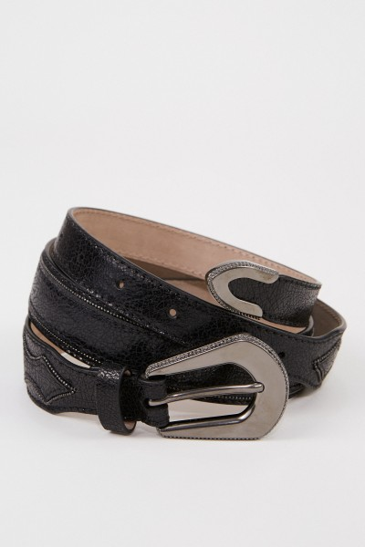 Leather belt with pearl details Black