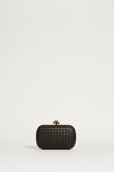 Woven leather clutch 'Knot' Black