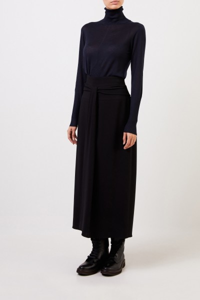 Cashmere-Rollkragenpullover mit Ripp-Details Marineblau