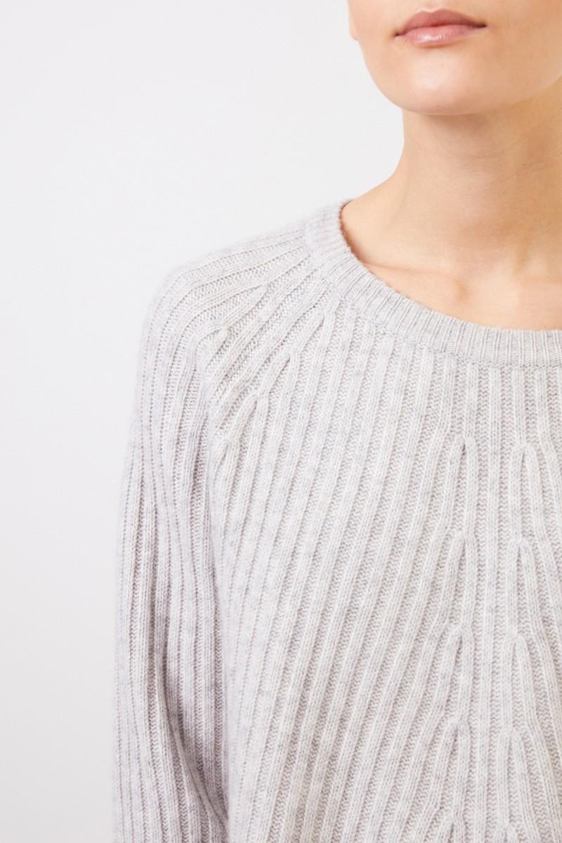 Allude Woll-Cashmere-Pullover Hellgrau