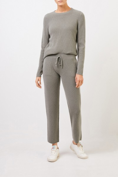 Cashmere pants with mesh knit Sage