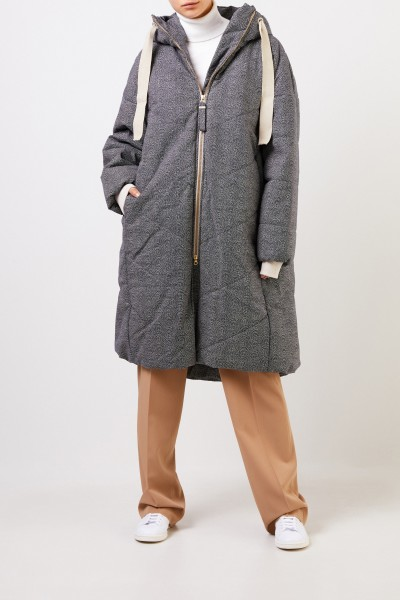 G-lab Patterned coat 'Blossom' with hood Navy Blue/White