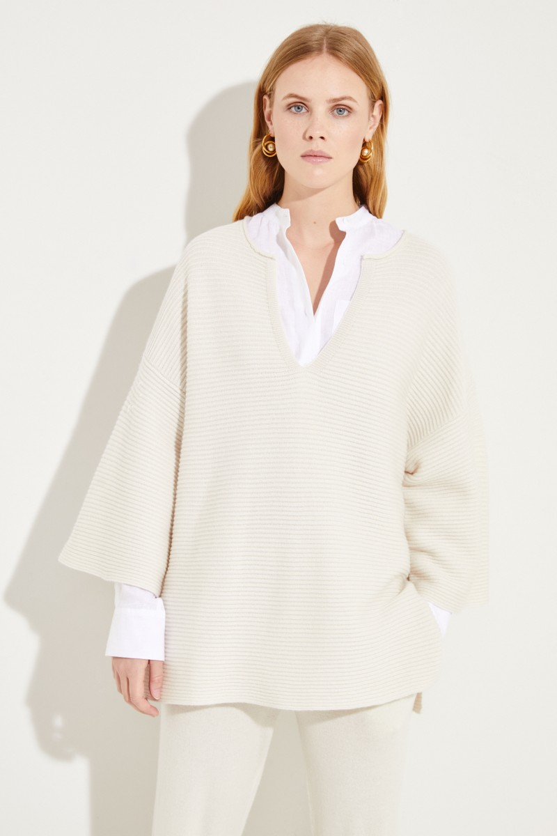 Oversize Woll-Cashmere-Pullover Crème