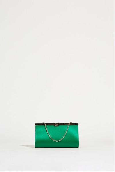 Satin-Clutch 'Palmette' Grün