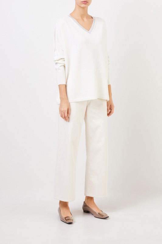 Fabiana Filippi Woll-Seiden-Pullover mit Lurex-Detail Weiß